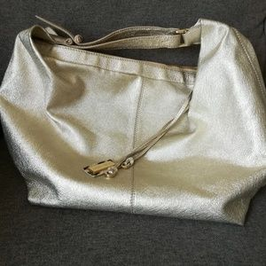 Jimmy Choo Gold Metallic Leather Hobo Purse